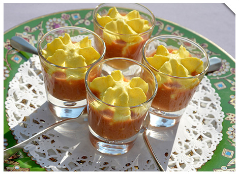 Gaspacho tomates, espuma chèvre